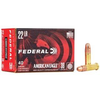 .22 lfb. Federal Ammunition American Eagle HV HP verkupfert 38 grs - 40Stk