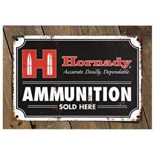 """Hornady Blechschild """"""""Hornady - Ammunition sold here"""""""