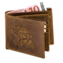 Geldbörse Querformat mit Hirschprägung
