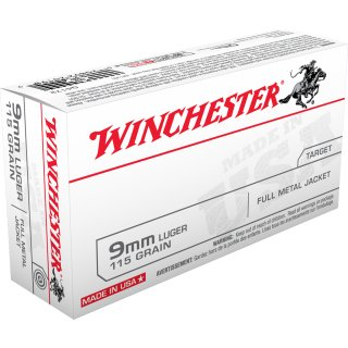 9mm Luger Winchester FMJ 115grs - 50Stk