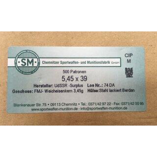 5,45x39 SM FMJ 3,45g - 500 Stk lackiert