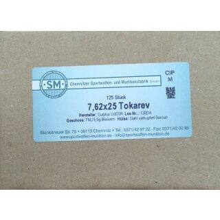 7,62x25 Tokarev Surplus FMJ 5,5gr. 125Stk